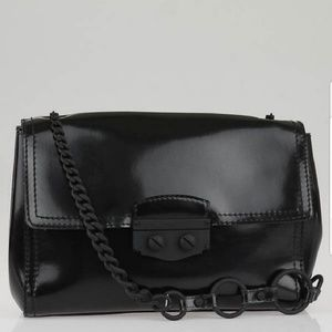 YSL Le Sixieme Black Rubber Shoulder Flap Bag